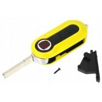 Obal kľúča, holokľúč pre Fiat 500, trojtlačítkový, žltý