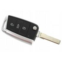 Obal kľúča, holokľúč pre Škoda Octavia III, trojtlačítkový, chrom