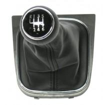 Radiaca páka s manžetou pre VW Caddy, 6 stupňova, chromový ramček, 2004 - 2009